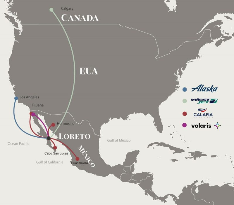 Flights to Loreto Mexico Airlines Map